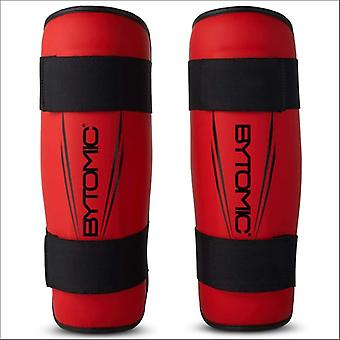 Bytomic axis v2 shin guards red/black