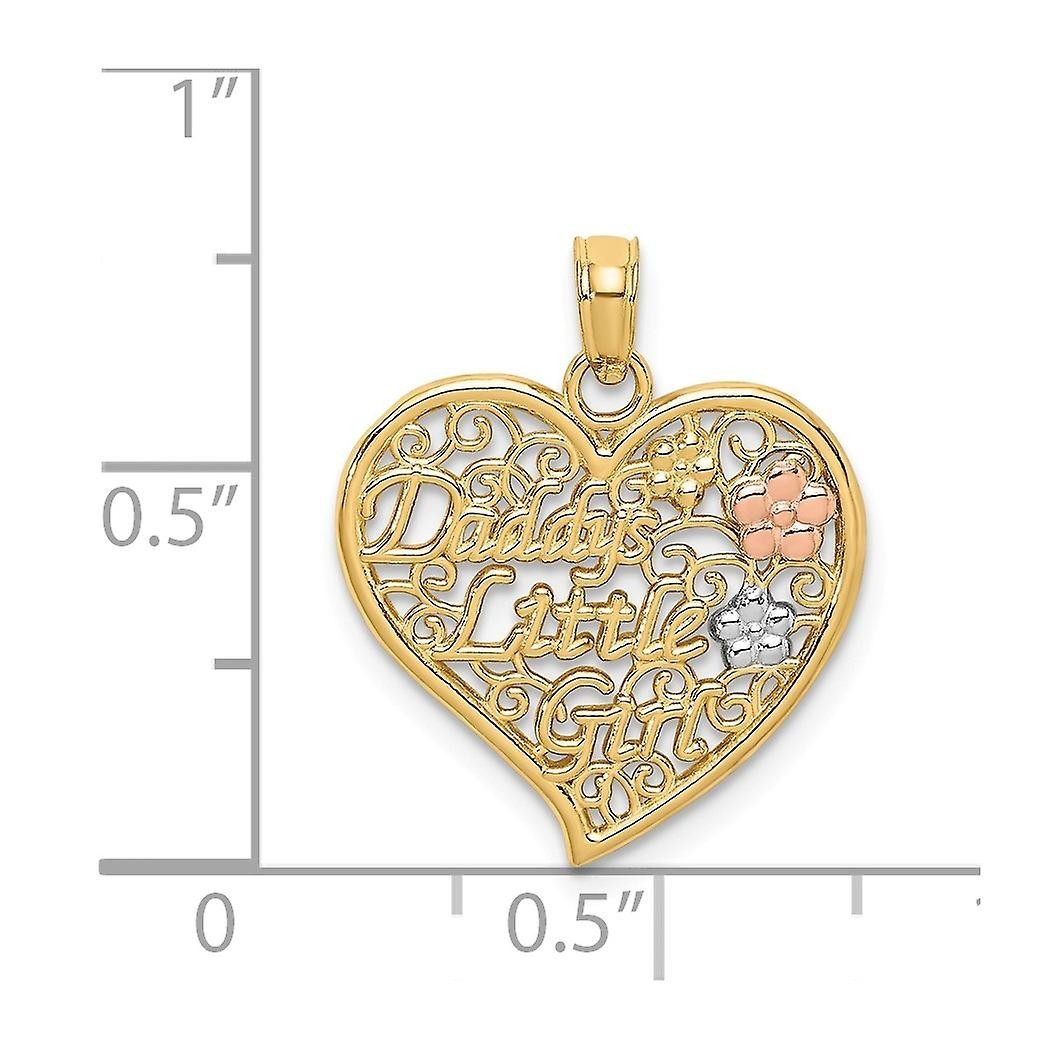 14k Two tone Gold Daddys Little Girl In Filigree Love Heart Pendant Necklace With Pnk and Wht Flowers Jewelry Gifts for