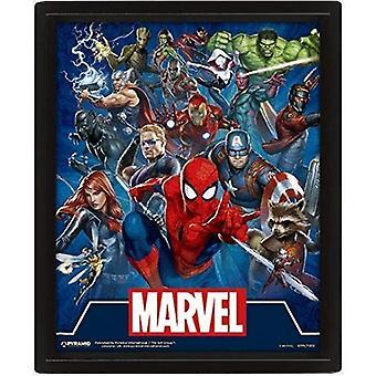 Marvel Icons gerahmt 3D-Bild