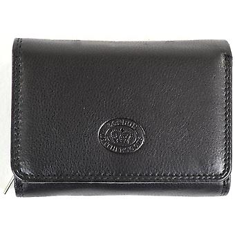 Ladies Soft Nappa Leather Purse with Multiple Credit Card Slots and Pockets ( Black )