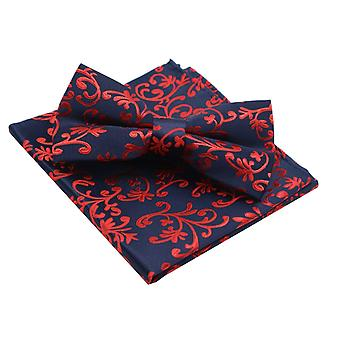 Navy blue & red floral bow tie & pocket square set
