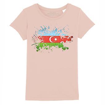 STUFF4 Girl's Round Neck T-Shirt/Azerbaijan Flag Splat/Coral Pink