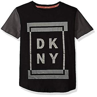 DKNY Boys' Big Short Sleeve Fashion T-Shirt, Framed Caviar, 18/20