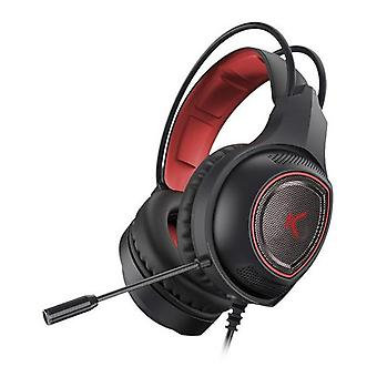 Gaming headset with microphone drakkar usb led black red