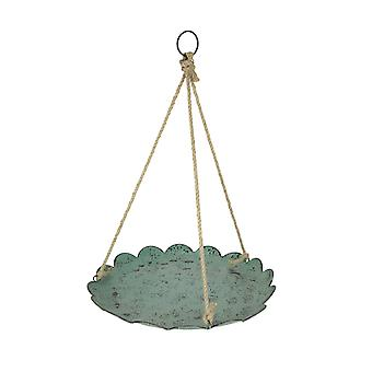 Verdigris Finish Metal and Rope Hanging Bird Feeder / Birdbath Farmhouse Decor