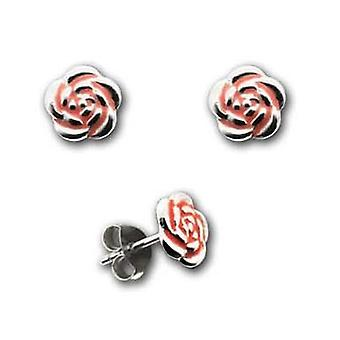 TOC Girls Sterling Silver Red Rose Stud Earrings 7mm