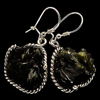 """Czech Moldavite Earrings 1 3/4"""" (925 Sterling Silver)  - Handmade Boho Vintage Jewelry EARR400258"""