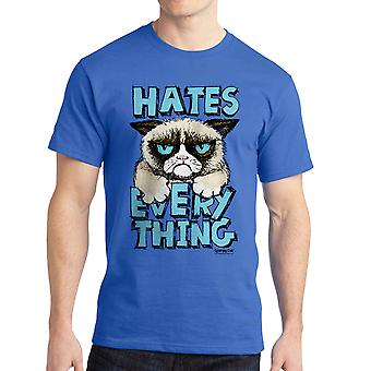 Grumpy Cat Hates Everything Men's Royal Blue Funny T-shirt