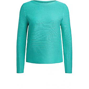 Oui Holly Grøn ribbet strik jumper