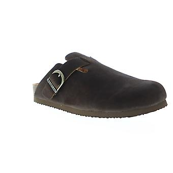 Eastland Gino  Mens Brown Nubuck Leather Strap Clogs Slippers Shoes