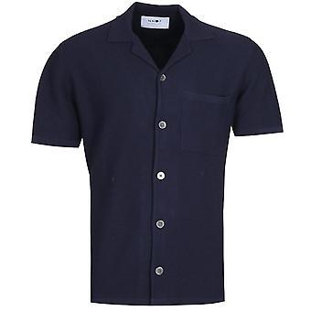 NN07 Miyagi 6381 Knitted Navy Pocket Shirt