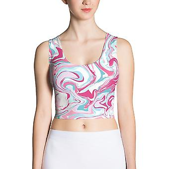Fitted Crop Top | Pink Marble