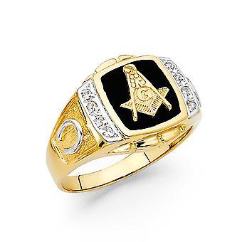 14k Sarı Altın Simüle Onik Masonik Erkek Yüzük Boyutu 10 Erkekler için Takı Hediyeler - 6.6 Gram