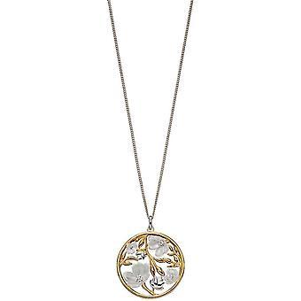 elementer sølv kirsebærblomst runde anheng - sølv/ gull