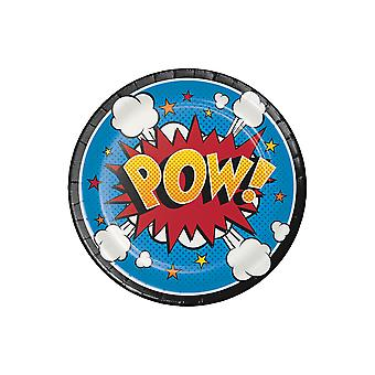 8 Small Superhero Slogans Paper Party Plates
