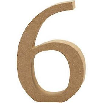 13cm Large Wooden MDF Number Shape to Decorate - 6 | Wood Shapes for Crafts