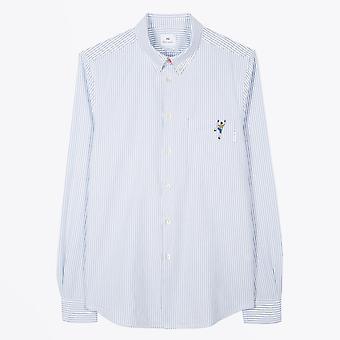 PS Paul Smith  - Stripe Oxford Shirt With Embroidered 'Climber' - Blue/White