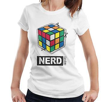Rubiks kub klippa ut nörd kvinnors T-shirt