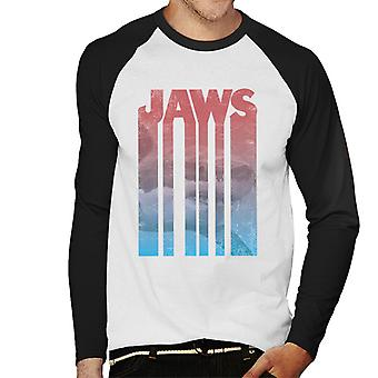 Jaws Shark Shadow Text Men's Baseball Long Sleeved T-Shirt