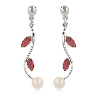 ADEN 925 Sterling Silver Coral and White Pearl Earrings (id 4235)