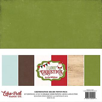Echo Park ich liebe Weihnachten Koordination Solids 12 x 12 Zoll Papier Pack