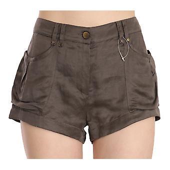 Brown Mid Waist Linen Micro Mini Shorts -- PAN7927536
