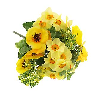 35cm Artificial Fabric Yellow Pansy & Narcissus Floristry Spray