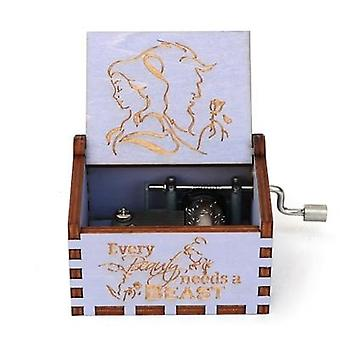 Beauty And The Beast Wooden Hand Cranked 18 Tones Music Box Birthday, Christmas