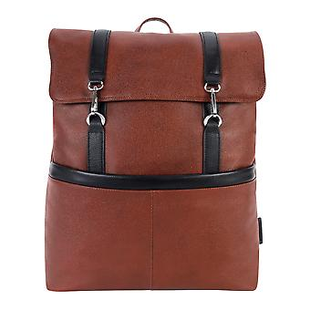"""18470, U Series, Element 17"""" Leather, Two-Tone, Flap-Over, Laptop & Tablet Backpack - Brown"""