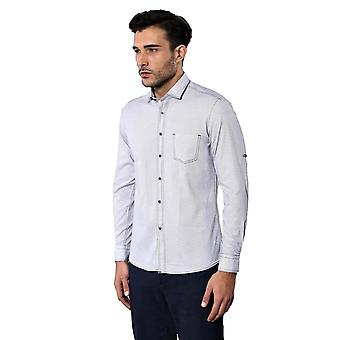 Birds eye patterned slim fit white shirt