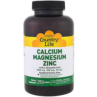 Country Life, Calcium Magnesium Zinc, 250 Tablets