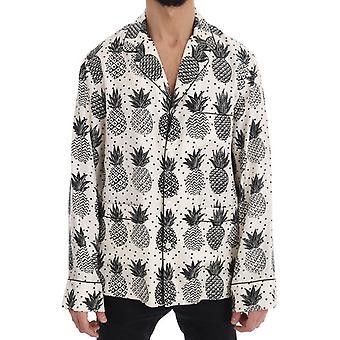 Dolce & Gabbana White Silk Pineapple Print Casual Shirt TSH1816-2