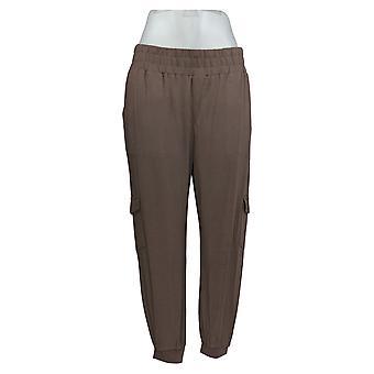 Anybody Women's Petite Pants Cozy Knit Cargo Jogger Beige A310165