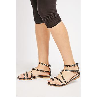 Studded Cross Strappy Sandals