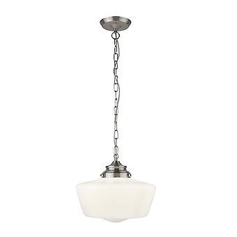 1 Lichte hanger Satijn Zilver, Wit IP44, E27