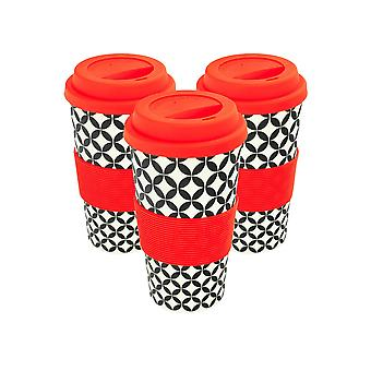 Reusable Coffee Cups - Bamboo Fibre Travel Mugs with Silicone Lid, Sleeve - 400ml (14oz) - Circles - Red - Pack of 3