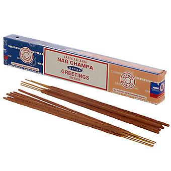 Satya Incense Sticks - Nag Champa & Greetings X 12 Pack