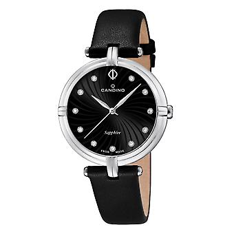Candino Swiss C4599-2 Women's Black Leather Strap Wristwatch