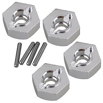 4pcs 12mm Aluminum Wheel Hex for AXIAL 90026 RC 1:10 Rock Crawler AX31015 Silver