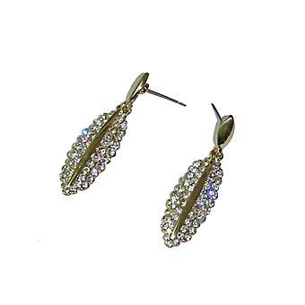 Mujeres's oval Drop Pendientes señoras níquel libre Dangle Rhinestone Diamante pendientes regalos para ella