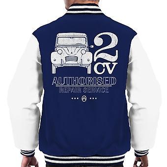 Citro?n 2CV autorisert reparasjon service hvit logo menn's Varsity Jakke