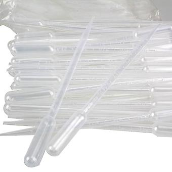 100pcs 5ml Plastic Eye Dropper Set Disposable Transfer Graduated Pipettes Lab