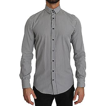 Dolce & Gabbana Musta Valkoinen Raidat Muodollinen Top Shirt