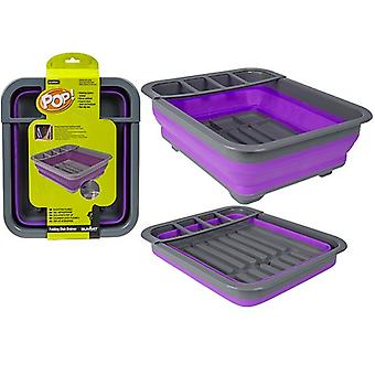 Summit Pop! Collapsible Dish Rack Drainer with Draining System - Purple / Grey