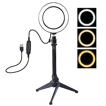 PULUZ 4,7 tum 12cm USB 3 Lägen Dimbar LED Ring Vlogging Fotografering Video Lights + Stationära Tripod hållare med Cold Shoe Tripod Ball Head