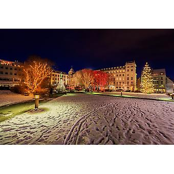 Jouluaikaan Austurvollur Reykjavik Islanti Juliste Tulosta