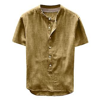 Men & apos;s الصيف الصيف نقية القنب زر قصير الأكمام القطن الكتان قميص