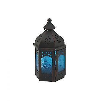 Rebecca muebles portave marroquí estilo negro azul metal vidrio 17x9x8