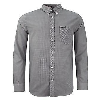 Ben Sherman Mens Checkered Shirt Long Sleeve Plaid Top Black White 0062085 WHT