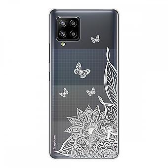 Scafo per Samsung Galaxy A42 5g Silicone Morbido 1 mm, Fiore mandala e farfalle bianche